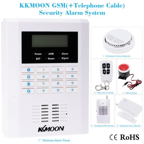 KKmoon Wireless 433MHZ GSM PSTN SMS Home Burglar Security Alarm System Detector Sensor Kit Remote Control