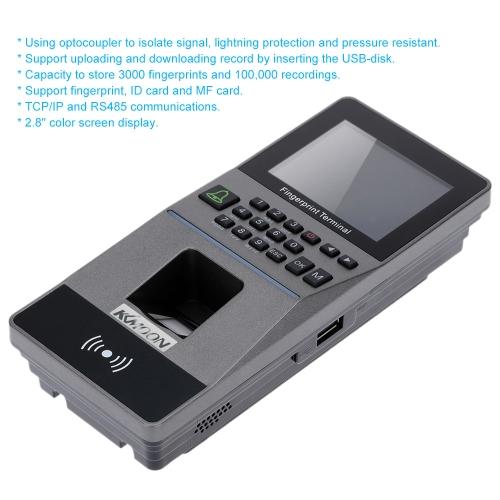 Sistema biométrico de controle de acesso de impressão digital TCP / IP USB e U-drive Atendimento máquina Sensor elétrico de leitor de cartão RFID