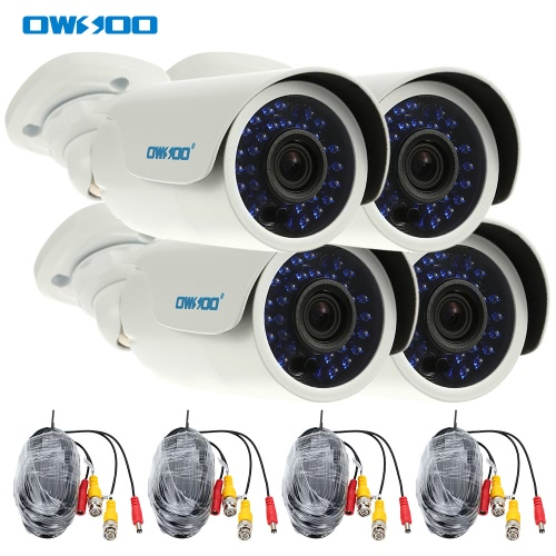 OWSOO 4* AHD 720P 1500TVL Megapixel Outdoor/Indoor Security CCTV Bullet Camera + 4*60ft Surveillance Cable support Weatherproof IR-CUT Night View Plug and Play 3.6mm 30 Infrared LEDs