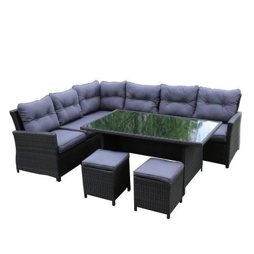 Garden furniture Aluminum 8 seater Chocolate Brown