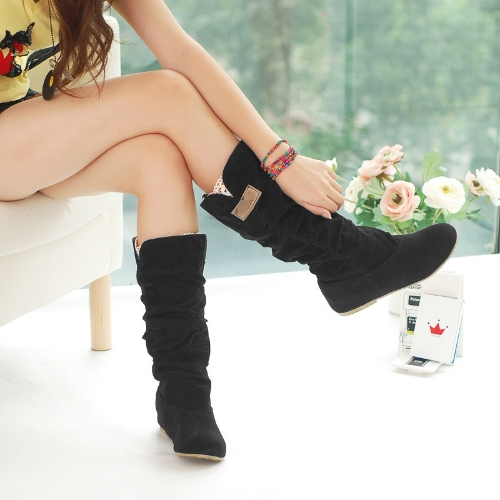 Fashion Autumn Winter Women Boots Lace Cuff Increased Internal Shoes Black