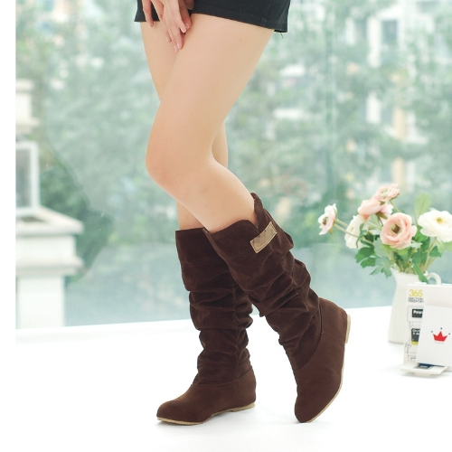 Fashion Autumn Winter Women Boots Lace Cuff Increased Internal Shoes Coffee