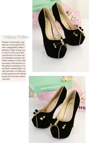 New Women Pumps Twin-Bow Golden Stiletto Heel Peep Toe Platform Sole Party Shoes Black
