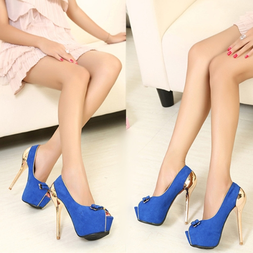New Women Pumps Twin-Bow Golden Stiletto Heel Peep Toe Platform Sole Party Shoes Blue
