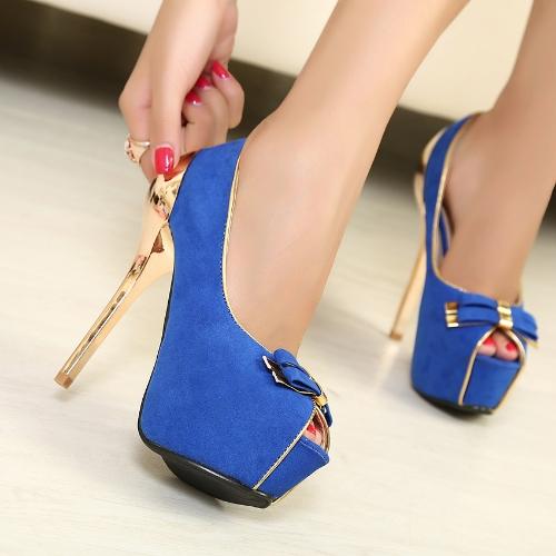 Nuevo mujeres bombas Twin-Bow oro tacón Peep Toe plataforma zapatos de fiesta exclusiva azul