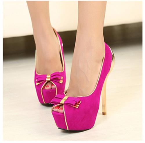 Nuevas mujeres bombas doble arco dorado tacón Peep Toe plataforma zapatos de fiesta única rosa