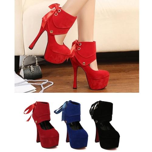 Mujeres Sexy tacones plataforma única cinta zapatos bombas azul