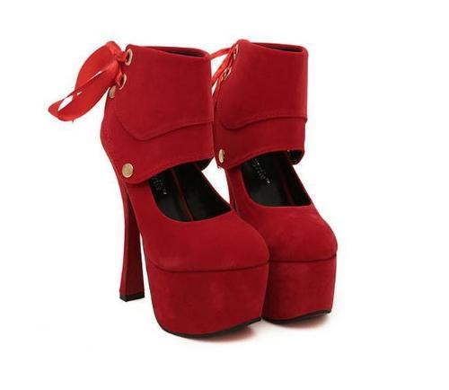 Mujeres Sexy tacones plataforma única cinta zapatos bombas rojo