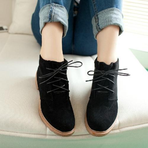New Vintage Women Ankle Boots Lace Up Flat Heel Flock Shoes Black