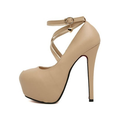 Sexy Women High Heels PU Shoes Straps Pointed Heel Platform Sole Thick Shoes Beige