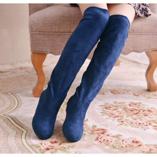Fashion Spring Autumn Women Long Boots Knee High Flat Sole Shoes Blue
