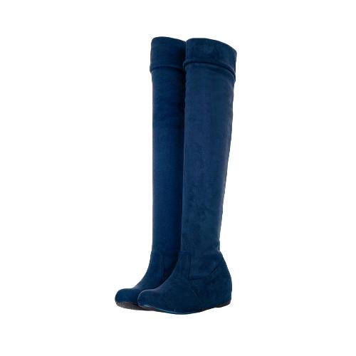 Moda primavera otoño mujer botas largas hasta la rodilla plana zapatos suela azul