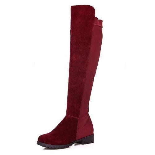Nueva primavera otoño mujer botas largo Patchwork rodilla longitud zapatos Borgoña