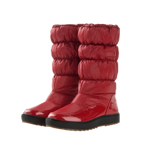 Invierno mujer botas cuero lacado nieve impermeable botas zapatos acolchados planas calientes