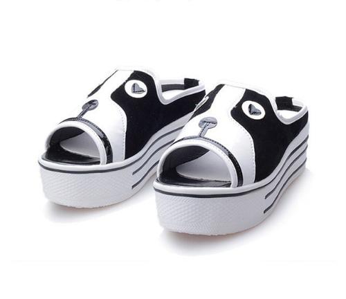 Nueva linda mujeres chicas sandalias gato patrón plataforma única Peep Toe zapatos perro