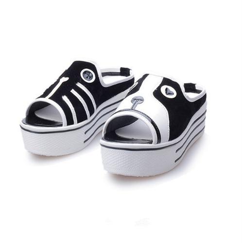 Nuevas sandalias de niñas linda mujeres perro gato patrón plataforma única Peep Toe zapatos de perro y gato