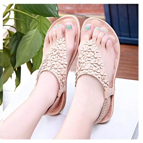 Moda verano mujeres PU sandalias dedo Floral-post zapatos Slingback pisos color caqui