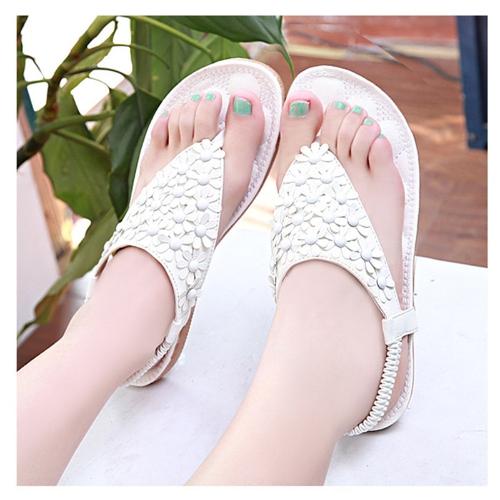 Moda verano mujeres PU sandalias dedo Floral-post zapatos Slingback pisos blanco