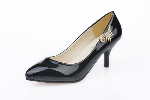 Fashion Women PU Heels Candy Color Low Cut Vamp Pointed Thin Shoes Black
