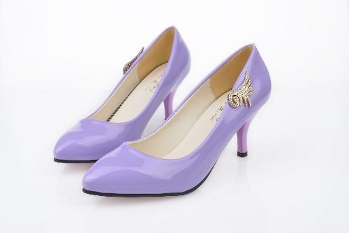 Moda mujeres PU talones Color caramelo bajo corte Vamp señaló finos zapatos azul