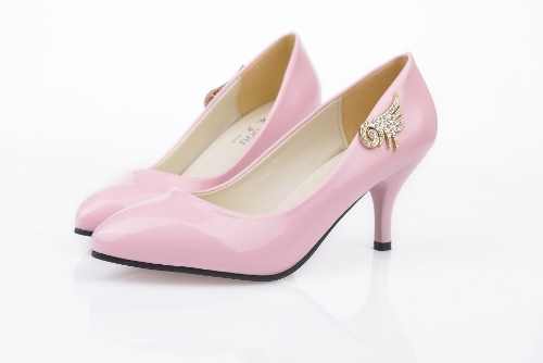 Moda mujeres PU talones Color caramelo bajo corte Vamp señaló finos zapatos rosa