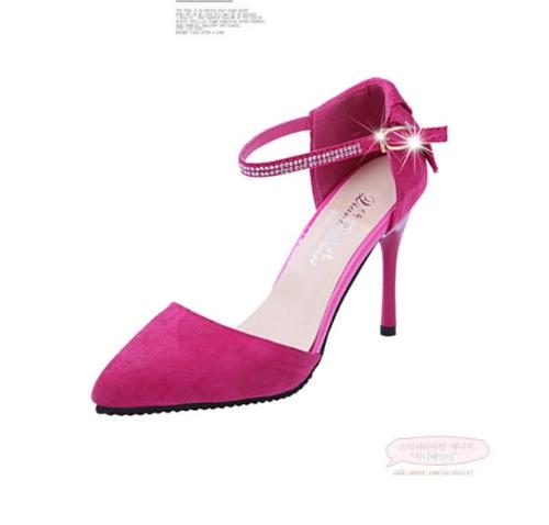 Las mujeres la moda de verano zapatos de tacón puntiagudo suela plana baja Vamp zapatos sandalias rosa