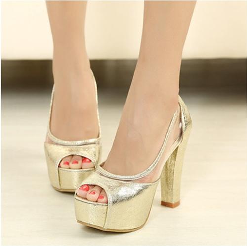 Moda mujer verano zapatos de tacón Peep Toe plataforma zapatos suela delgada bombas oro
