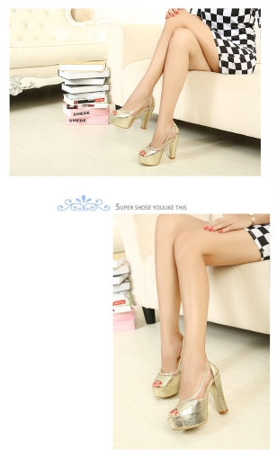 TOMTOP / Fashion Women Summer High Heels Peep Toe Platform Sole Thin Shoes Pumps Golden