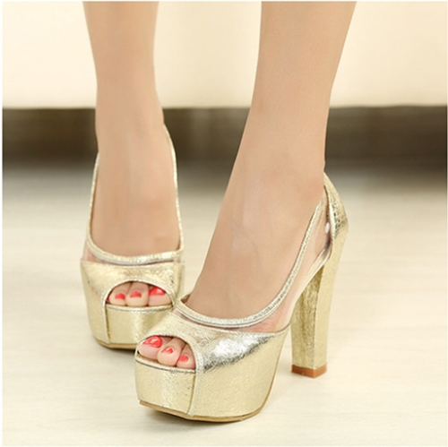 Fashion Women Summer High Heels Peep Toe Platform Sole Thin Shoes Pumps Golden