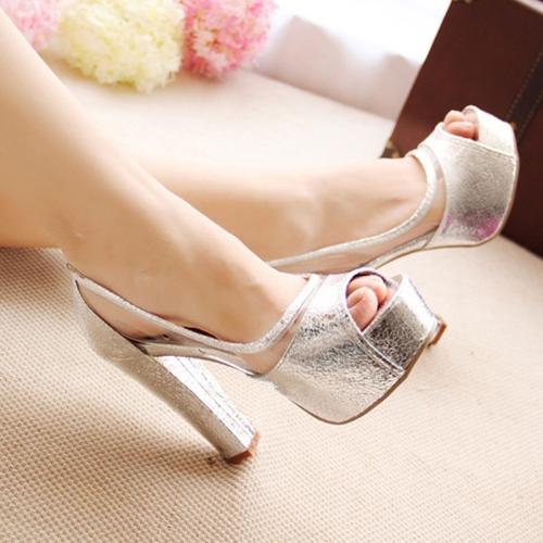 Moda mujeres verano alto tacones Peep Toe plataforma suela delgada zapatos bombas plata