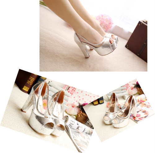 TOMTOP / Fashion Women Summer High Heels Peep Toe Platform Sole Thin Shoes Pumps Silver