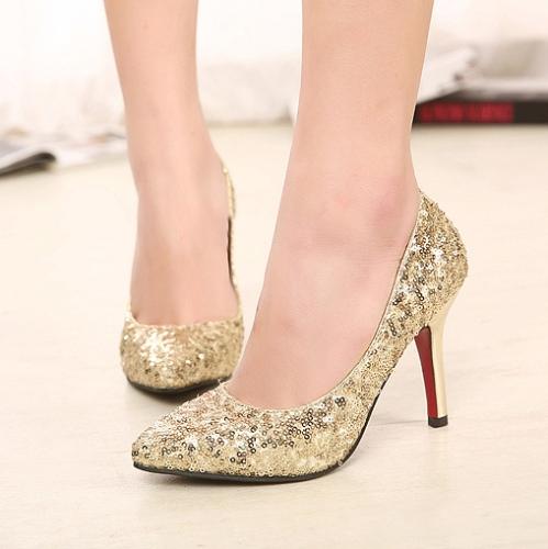 Moda sexy mujeres tacones lentejuelas zapatos puntiagudo partido bombas de oro
