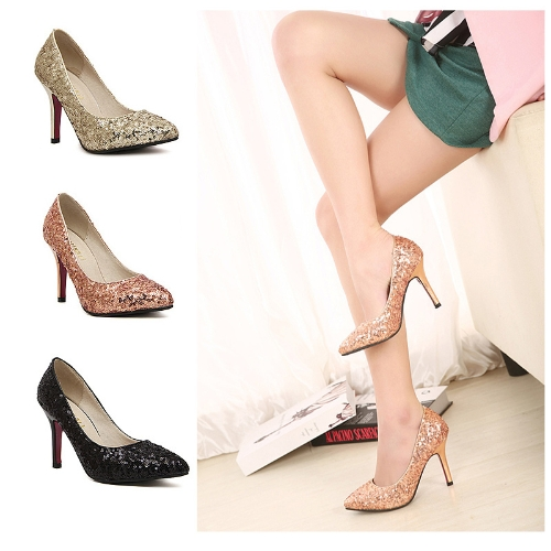 Sexy Fashion Women Heels Sequin Shoes Pointed Toe Party Pumps Golden
