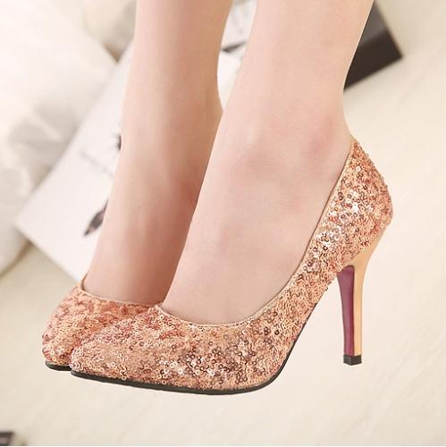 Moda sexy mujeres tacones lentejuelas zapatos puntiagudo bombas fiesta rosa