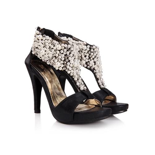 Moda mujeres tacón Rhinestone sandalias abalorios perla cremallera trasera zapatos bombas negro