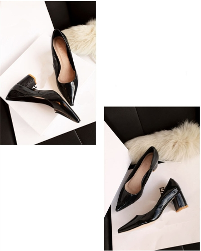 Sexy Fashion Women Heels Low Cut Vamp Pointed Toe PU Leather Shoes Black