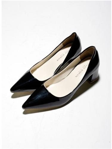 Moda sexy mujeres tacones escotado Vamp puntiagudo PU de cuero zapatos negro