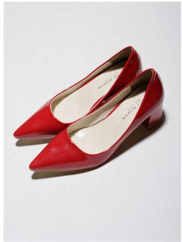 Moda sexy mujeres tacones bajos corte Vamp señaló Toe PU zapatos de cuero rojo