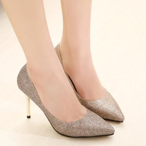 Moda mujer tacones señalaron dedo brillante Stilettos zapatos bombas fiesta dorada
