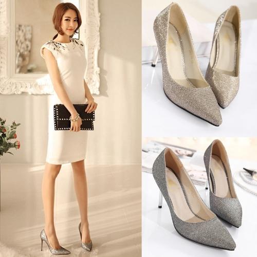 Мода женщин высокие каблуки указал носок блестящие стилеты обувь партия насосов Золотой фото