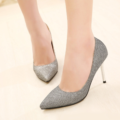 Moda mujeres tacones señalaron dedo brillantes Stilettos zapatos bombas fiesta plata