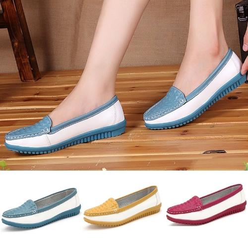 Pisos de las mujeres de moda ronda del dedo del pie zapatos Color bloque Skidproof mocasines zapatos ocasionales