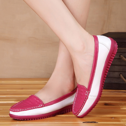 Pisos de mujeres de moda ronda Toe slip Color bloque Skidproof mocasines zapatos ocasionales