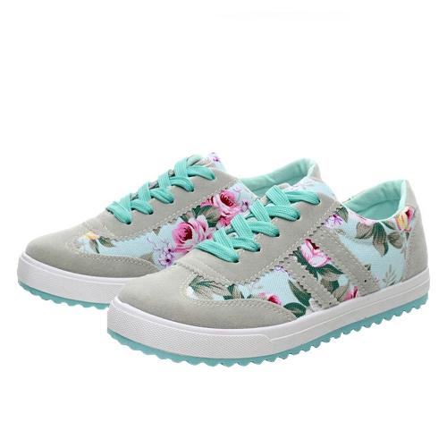 Nueva moda mujer lona zapatillas Flats Floral encaje impresión baja Plimsoll superior zapatos azul/rosa/negro