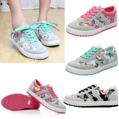 New Fashion Women Canvas Sneakers Flats Floral Print Lace Up Low Top Plimsoll Shoes Blue-Pink-Black