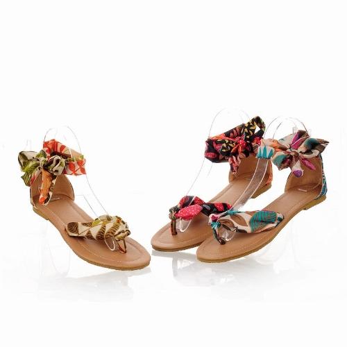 TOMTOP / Moda verão mulheres Flats Floral impressão do dedo do pé-pós finos sapatos sandálias amarelo