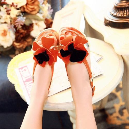Moda verano mujeres planas sandalias Slingback zapatos Flats naranja