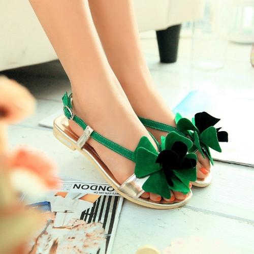 Moda verano mujeres planas sandalias Slingback zapatos Flats verde