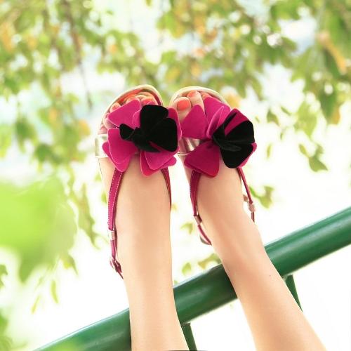 Moda verano mujeres planas sandalias Slingback zapatos Flats Rose