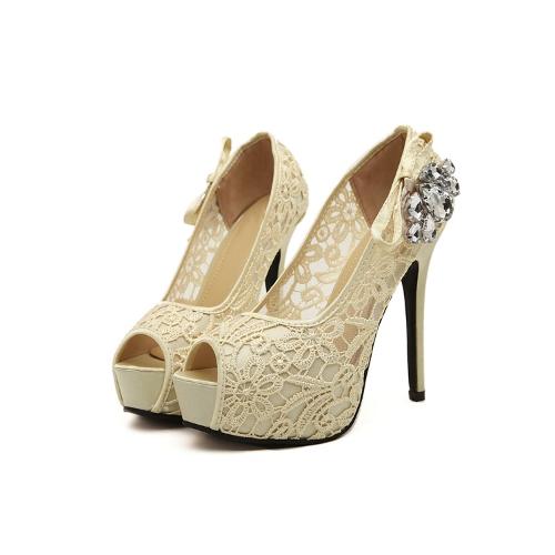 New Fashion Women Pumps Peep Toe Stiletto Platform Lace Rhinestone Elegant High Heels Beige/Pink